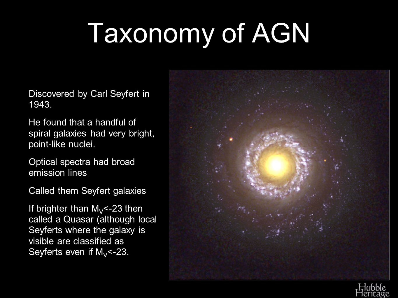 Taxonomy of AGN Discovered by Carl Seyfert in 1943.