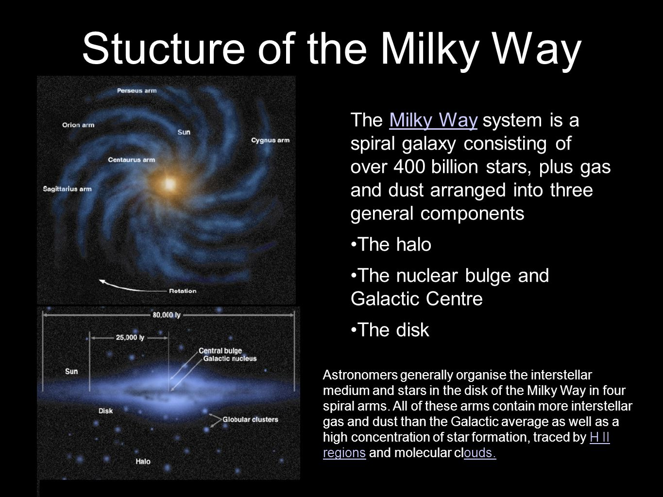 6 Stucture of the Milky Way 2 The Milky Way system is a spiral galaxy consisting of over 400 billion stars, plus gas and dust arranged into three general componentsMilky Way The halo The nuclear bulge and Galactic Centre The disk Astronomers generally organise the interstellar medium and stars in the disk of the Milky Way in four spiral arms.