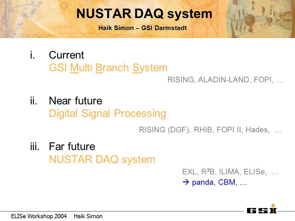 ELISe Workshop 2004 Haik Simon NUSTAR DAQ system Haik Simon – GSI Darmstadt i.Current GSI Multi Branch System ii.Near future Digital Signal Processing iii.Far future NUSTAR DAQ system RISING, ALADIN-LAND, FOPI, … RISING (DGF), RHIB, FOPI II, Hades, … EXL, R 3 B, ILIMA, ELISe, …  panda, CBM, …