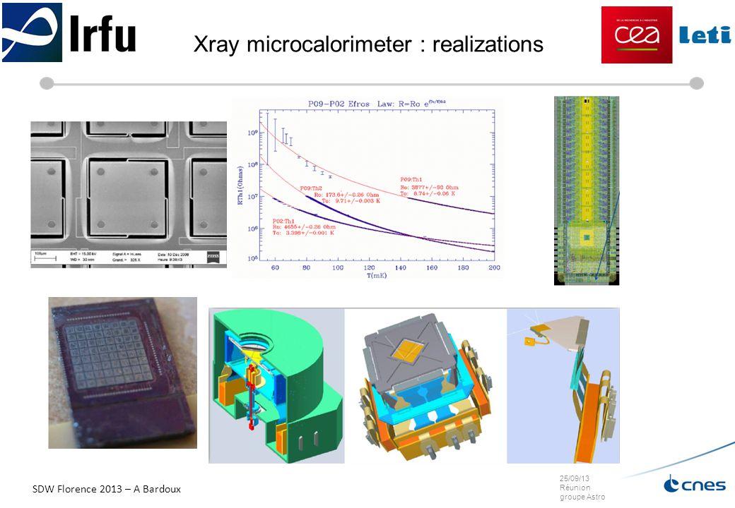 25/09/13 Réunion groupe Astro Xray microcalorimeter : realizations SDW Florence 2013 – A Bardoux
