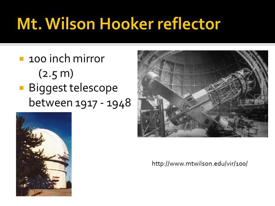  100 inch mirror (2.5 m)  Biggest telescope between 1917 - 1948 http://www.mtwilson.edu/vir/100/