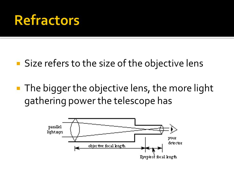  Size refers to the size of the objective lens  The bigger the objective lens, the more light gathering power the telescope has