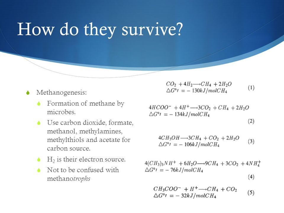 How do they survive.  Methanogenesis:  Formation of methane by microbes.