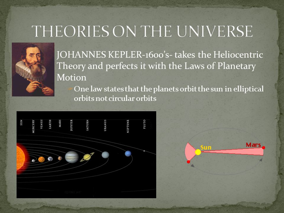 JOHANNES KEPLER-1600's- takes the Heliocentric Theory and perfects it with the Laws of Planetary Motion  One law states that the planets orbit the su