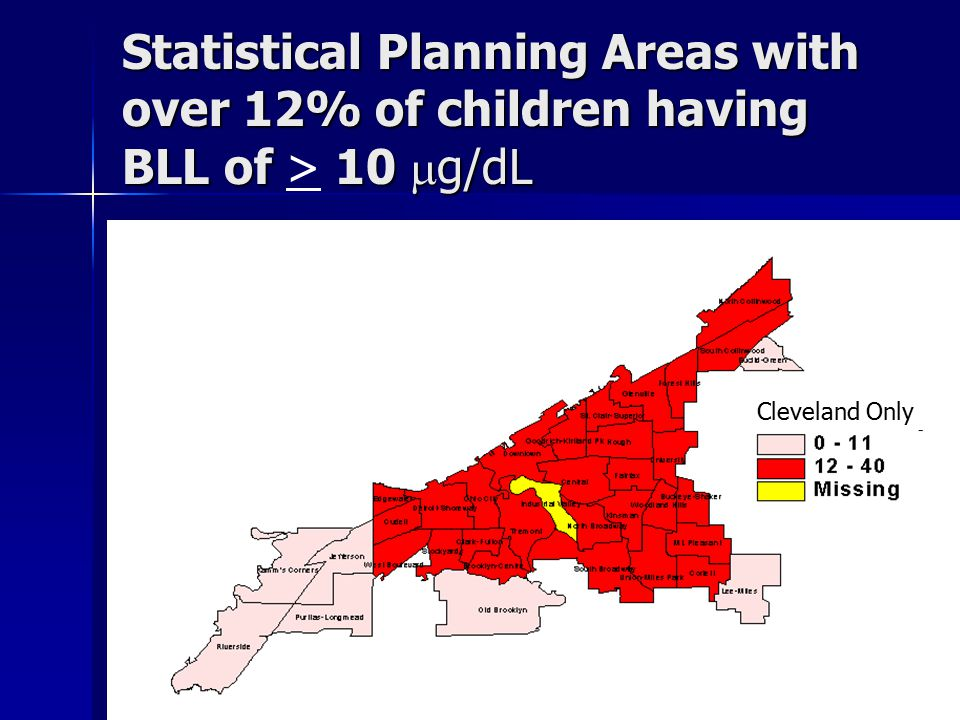 Statistical Planning Areas with over 12% of children having BLL of 10  g/dL Statistical Planning Areas with over 12% of children having BLL of > 10  g/dL Cleveland Only
