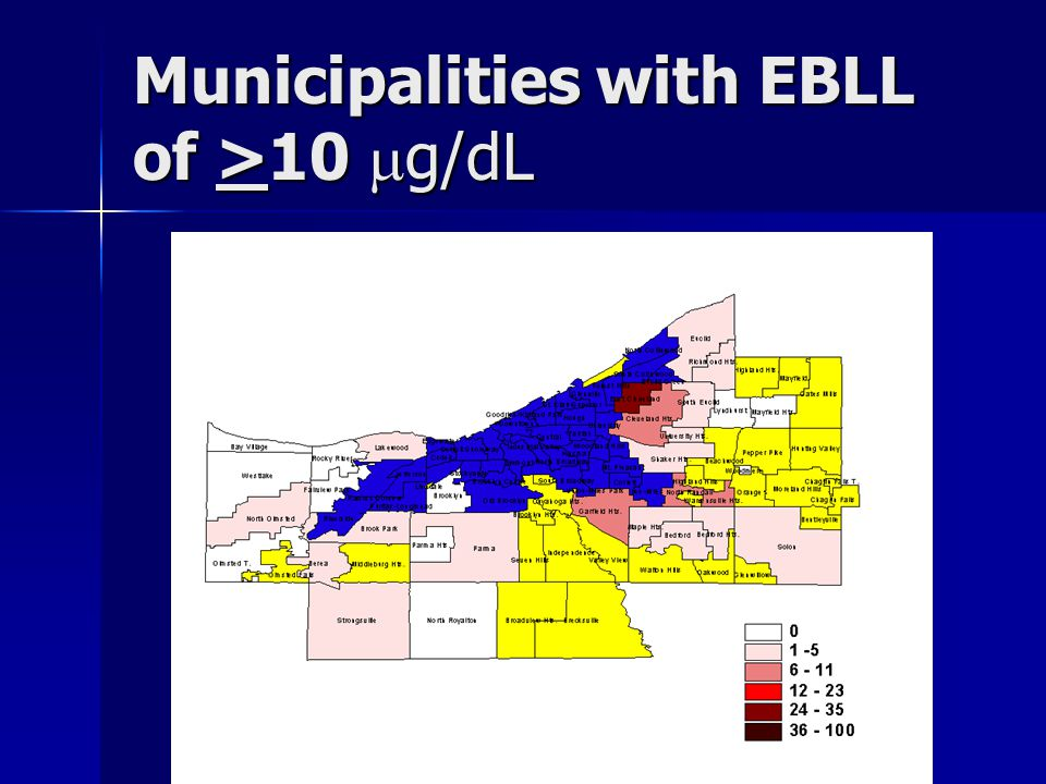 Municipalities with EBLL of >10  g/dL