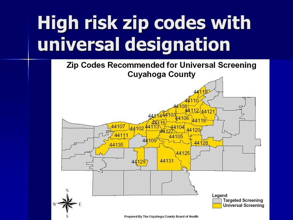 High risk zip codes with universal designation