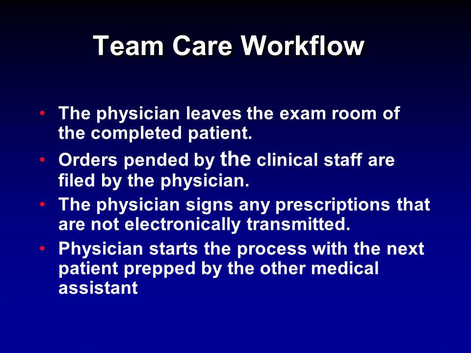 Team Care Workflow The physician leaves the exam room of the completed patient. Orders pended by the clinical staff are filed by the physician. The ph