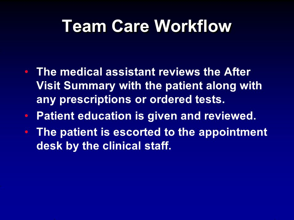 Team Care Workflow The medical assistant reviews the After Visit Summary with the patient along with any prescriptions or ordered tests. Patient educa
