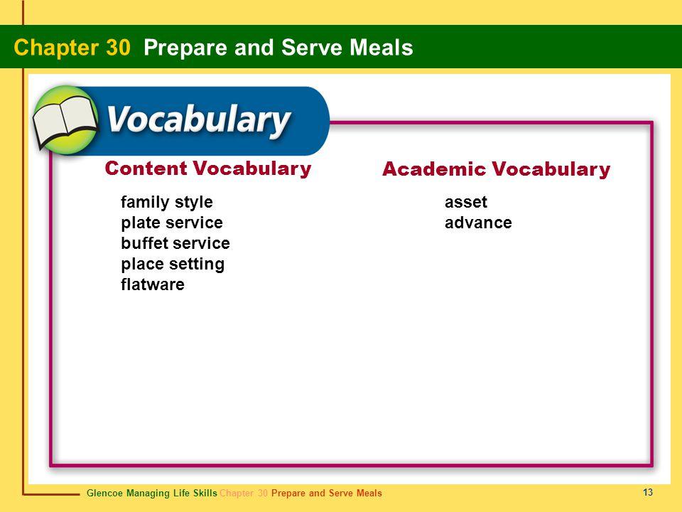 Glencoe Managing Life Skills Chapter 30 Prepare and Serve Meals Chapter 30 Prepare and Serve Meals 13 Content Vocabulary Academic Vocabulary family st