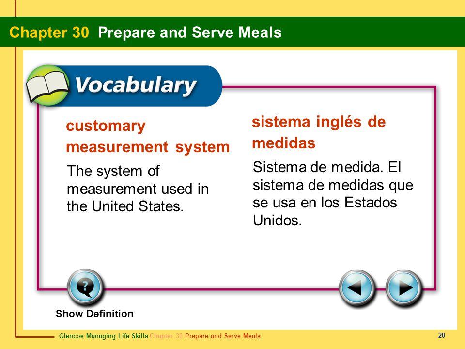 Glencoe Managing Life Skills Chapter 30 Prepare and Serve Meals Chapter 30 Prepare and Serve Meals 28 customary measurement system sistema inglés de m