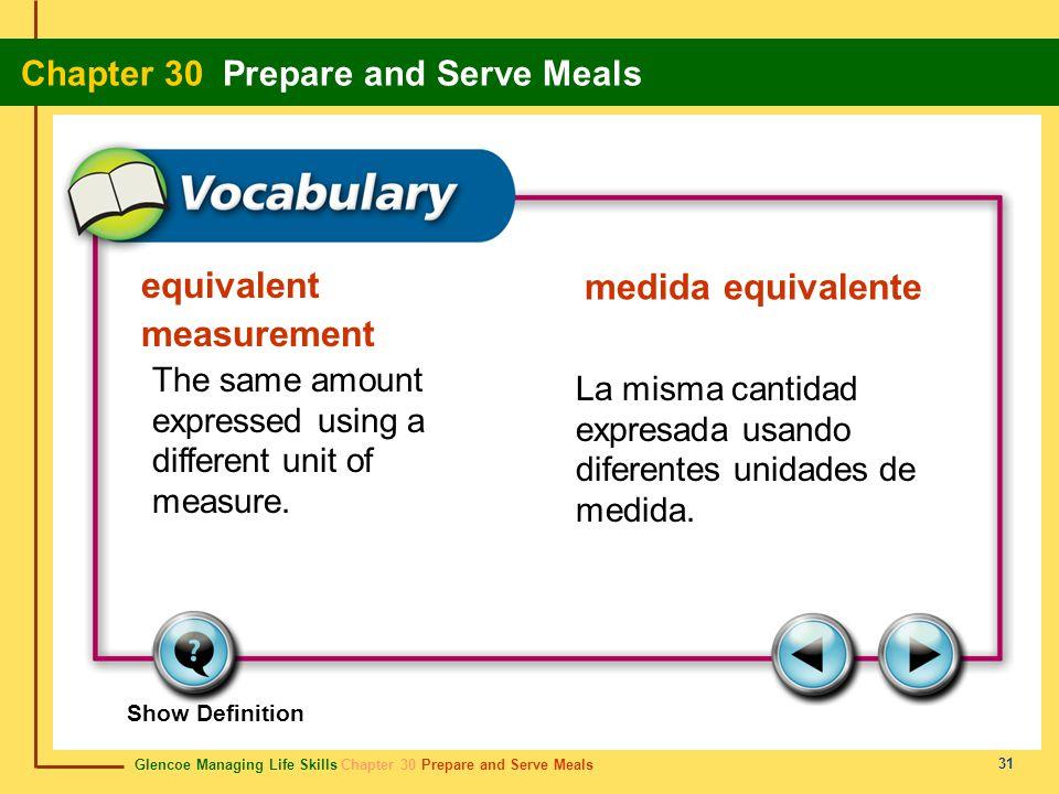 Glencoe Managing Life Skills Chapter 30 Prepare and Serve Meals Chapter 30 Prepare and Serve Meals 31 equivalent measurement medida equivalente The sa