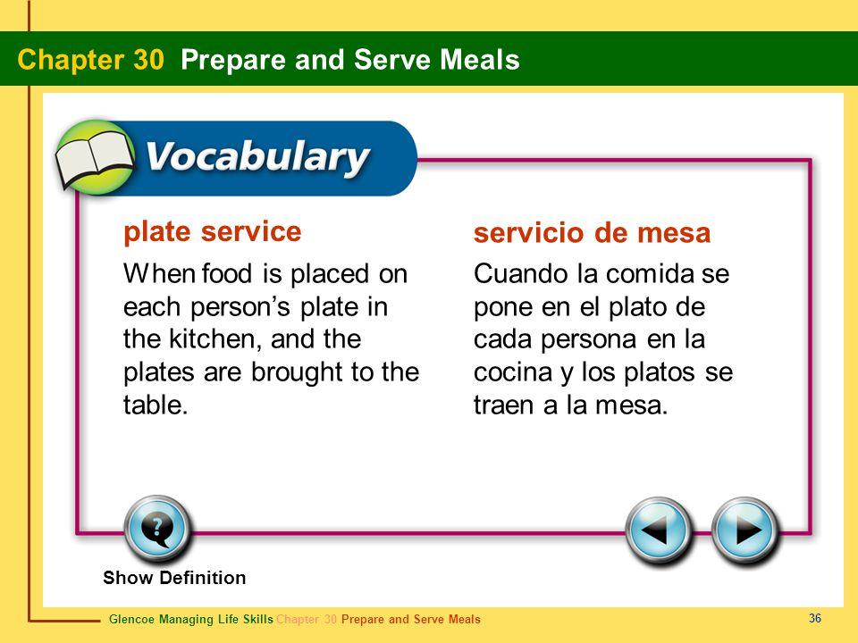 Glencoe Managing Life Skills Chapter 30 Prepare and Serve Meals Chapter 30 Prepare and Serve Meals 36 plate service servicio de mesa When food is plac