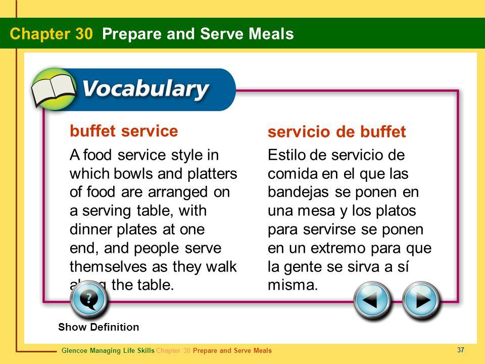 Glencoe Managing Life Skills Chapter 30 Prepare and Serve Meals Chapter 30 Prepare and Serve Meals 37 buffet service servicio de buffet A food service