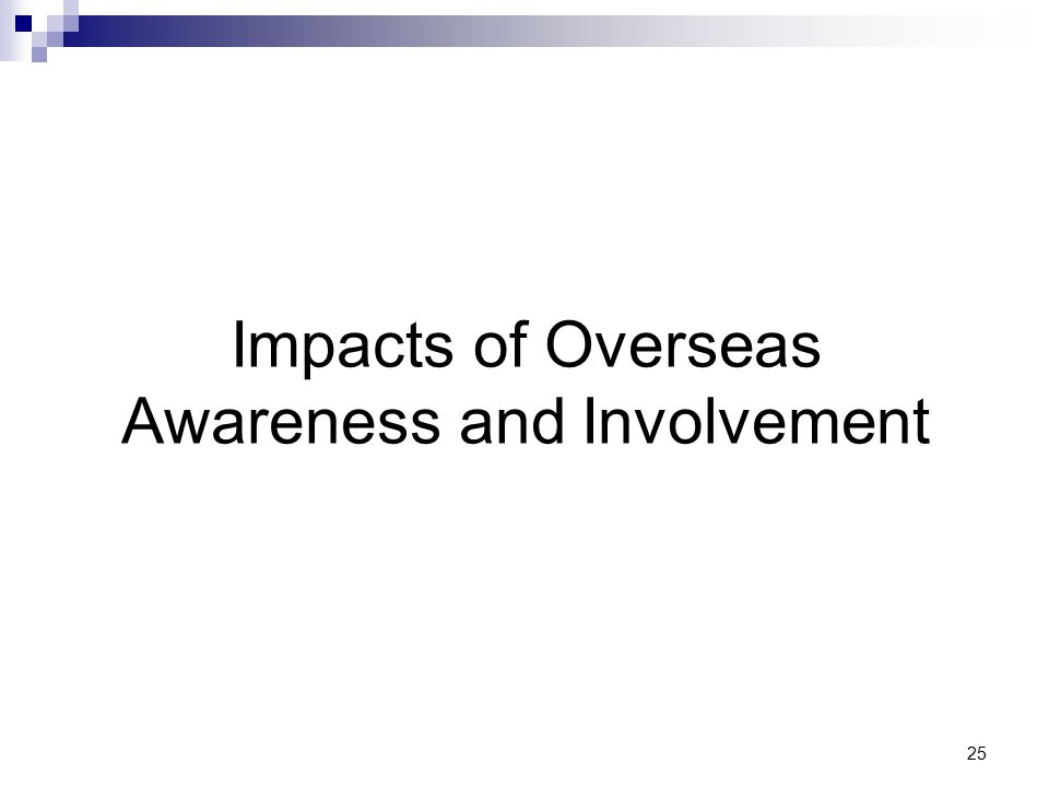 25 Impacts of Overseas Awareness and Involvement