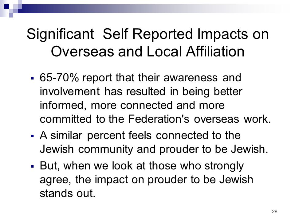 28 Significant Self Reported Impacts on Overseas and Local Affiliation  65-70% report that their awareness and involvement has resulted in being better informed, more connected and more committed to the Federation s overseas work.