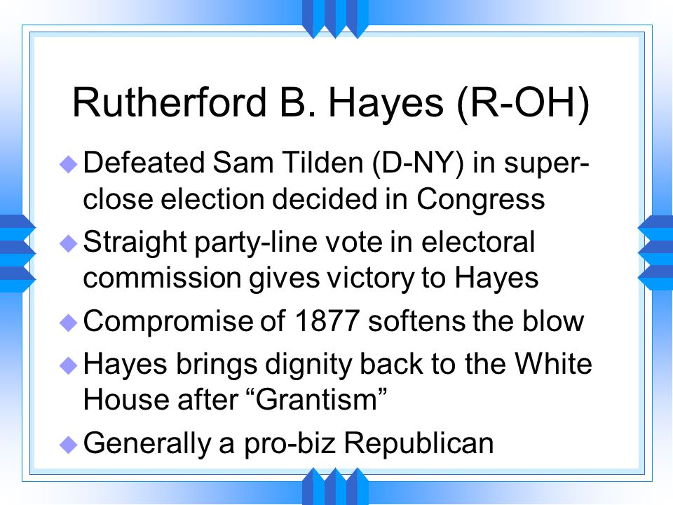 Czar Reed u Reed revolutionized the role of the Speaker of the House u Changed procedural rules for reaching quorum # present instead of simply # voting u The Reed Rules increased efficiency of doing business Also increased the power of the Speaker u Billion Dollar Congress