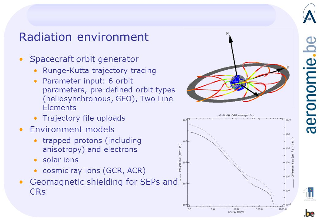 Radiation environment Spacecraft orbit generator Runge-Kutta trajectory tracing Parameter input: 6 orbit parameters, pre-defined orbit types (heliosyn