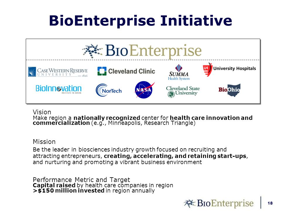 18 BioEnterprise Initiative Vision Make region a nationally recognized center for health care innovation and commercialization (e.g., Minneapolis, Research Triangle) Mission Be the leader in biosciences industry growth focused on recruiting and attracting entrepreneurs, creating, accelerating, and retaining start-ups, and nurturing and promoting a vibrant business environment Performance Metric and Target Capital raised by health care companies in region >$150 million invested in region annually
