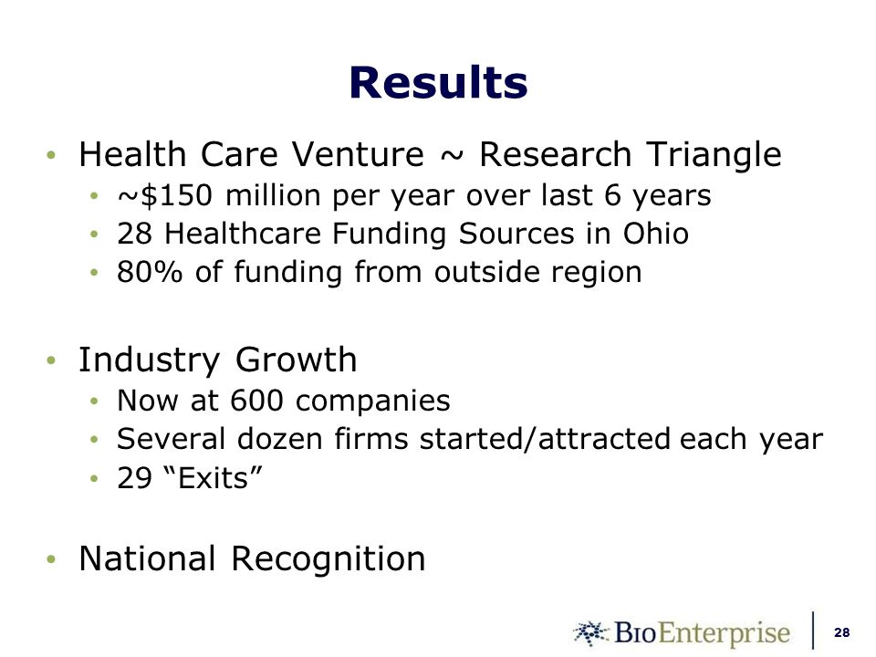 28 Results Health Care Venture ~ Research Triangle ~$150 million per year over last 6 years 28 Healthcare Funding Sources in Ohio 80% of funding from outside region Industry Growth Now at 600 companies Several dozen firms started/attracted each year 29 Exits National Recognition
