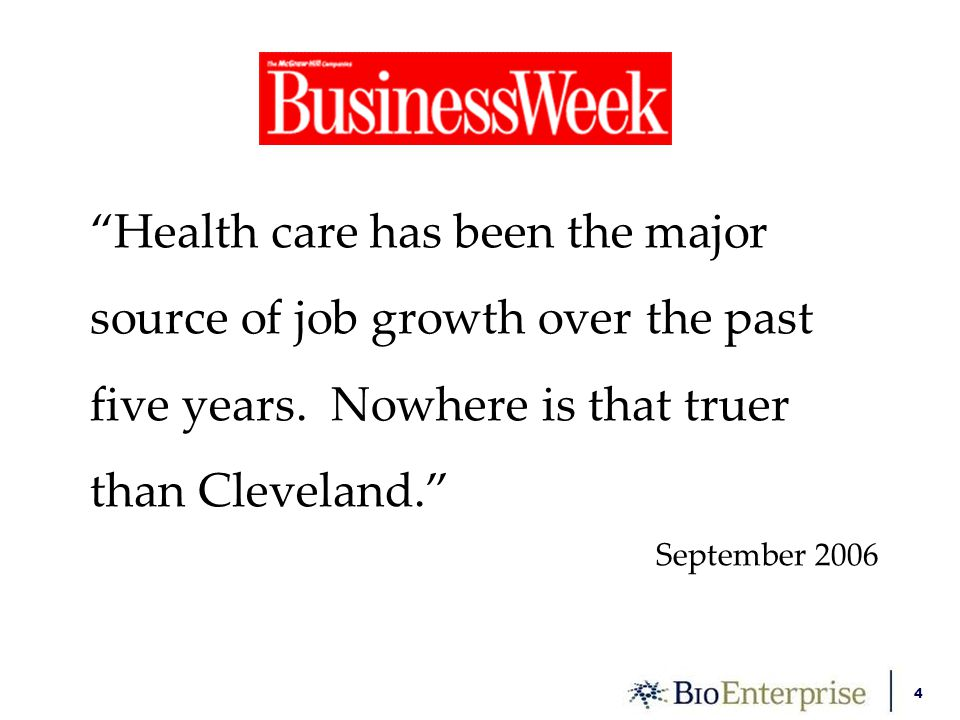 4 Health care has been the major source of job growth over the past five years.