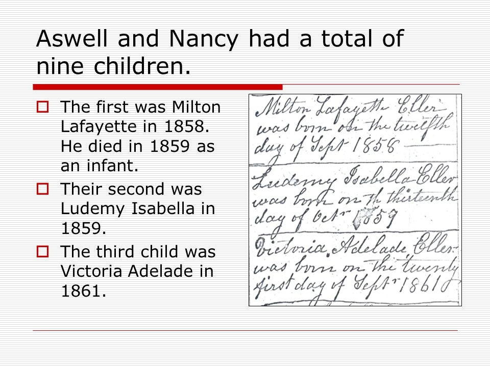 1880 Census  January 2 nd 1879 Nancy Dixon passes on  In May of 1843 Mary Ann Burkett is born to Daniel Burkett and Nancy Catherine Johnston.