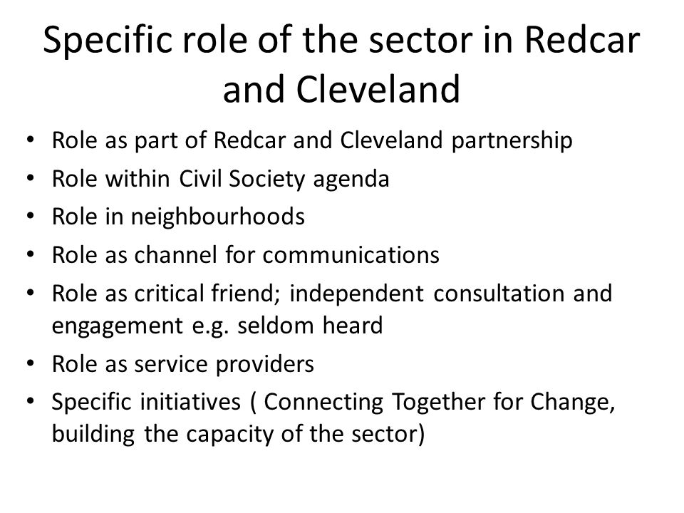 Specific role of the sector in Redcar and Cleveland Role as part of Redcar and Cleveland partnership Role within Civil Society agenda Role in neighbourhoods Role as channel for communications Role as critical friend; independent consultation and engagement e.g.