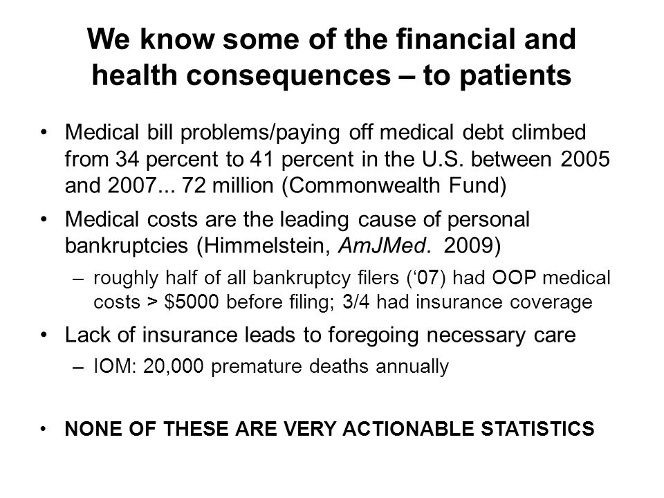 We know some of the financial and health consequences – to patients Medical bill problems/paying off medical debt climbed from 34 percent to 41 percent in the U.S.
