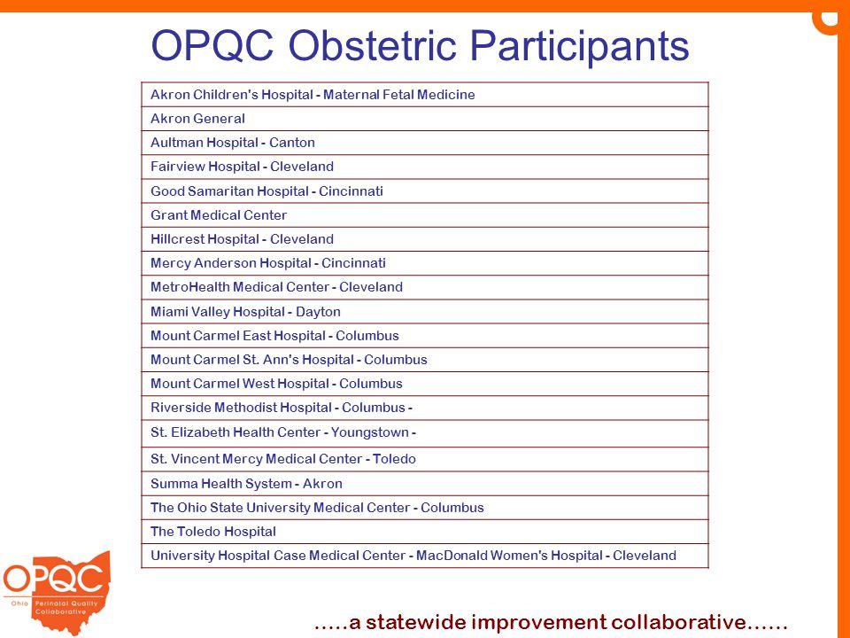 OPQC Obstetric Participants …..a statewide improvement collaborative…… Akron Children's Hospital - Maternal Fetal Medicine Akron General Aultman Hospi