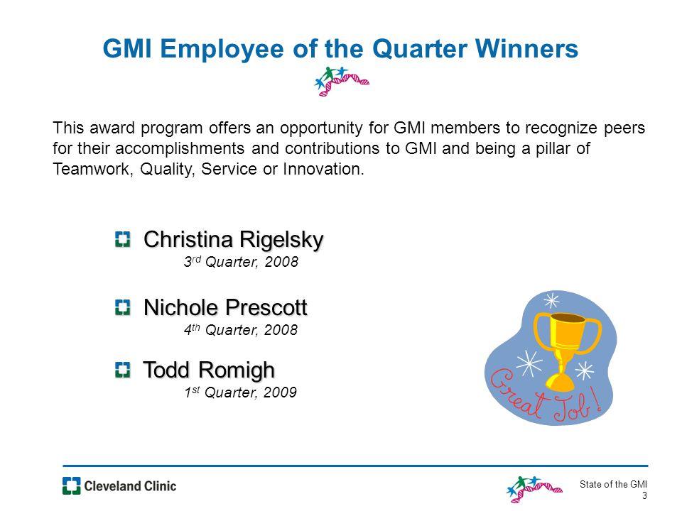 State of the GMI 4 State of the GMI 4 State of the Cleveland Clinic Highlights
