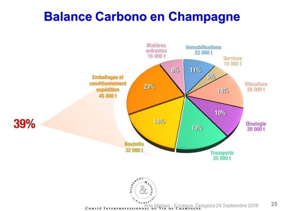 Ana Iglesias - Ecoagua, Zaragoza 24 Septiembre 2008 20 Balance Carbono en Champagne