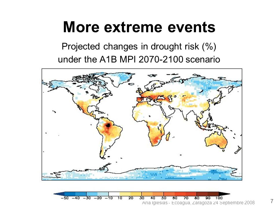 Ana Iglesias - Ecoagua, Zaragoza 24 Septiembre 2008 7 More extreme events Projected changes in drought risk (%) under the A1B MPI 2070-2100 scenario