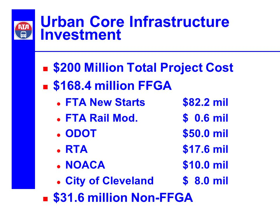 Urban Core Infrastructure Investment n $200 Million Total Project Cost n $168.4 million FFGA l FTA New Starts$82.2 mil l FTA Rail Mod.$ 0.6 mil l ODOT