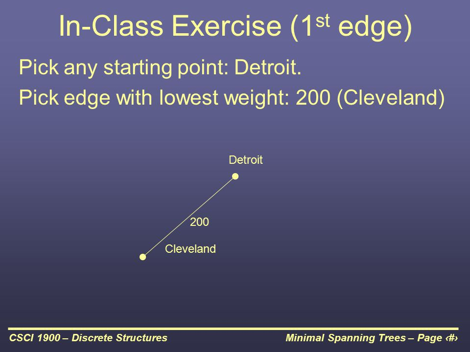 Minimal Spanning Trees – Page 14CSCI 1900 – Discrete Structures In-Class Exercise (1 st edge) Pick any starting point: Detroit.