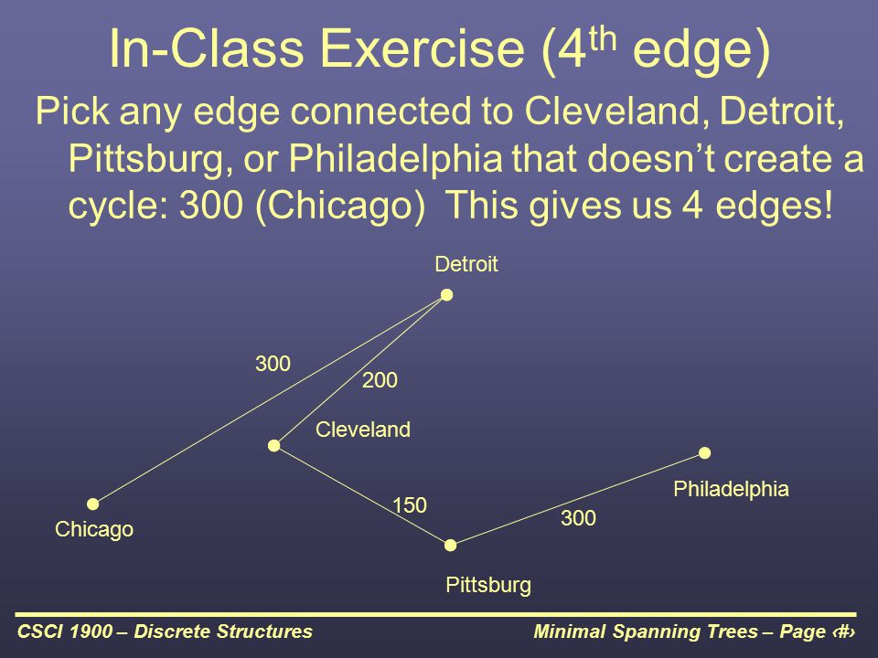 Minimal Spanning Trees – Page 17CSCI 1900 – Discrete Structures In-Class Exercise (4 th edge) Pick any edge connected to Cleveland, Detroit, Pittsburg, or Philadelphia that doesn't create a cycle: 300 (Chicago) This gives us 4 edges.