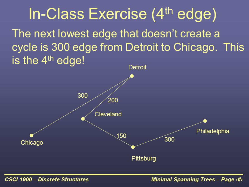 Minimal Spanning Trees – Page 23CSCI 1900 – Discrete Structures In-Class Exercise (4 th edge) The next lowest edge that doesn't create a cycle is 300 edge from Detroit to Chicago.