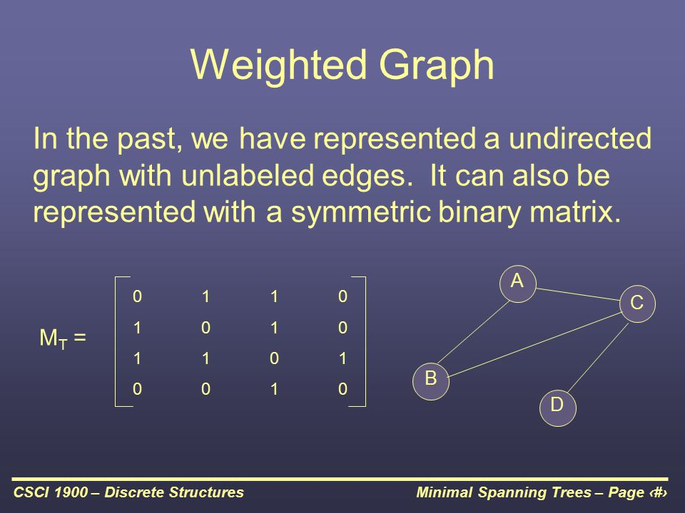Minimal Spanning Trees – Page 6CSCI 1900 – Discrete Structures Weighted Graph In the past, we have represented a undirected graph with unlabeled edges