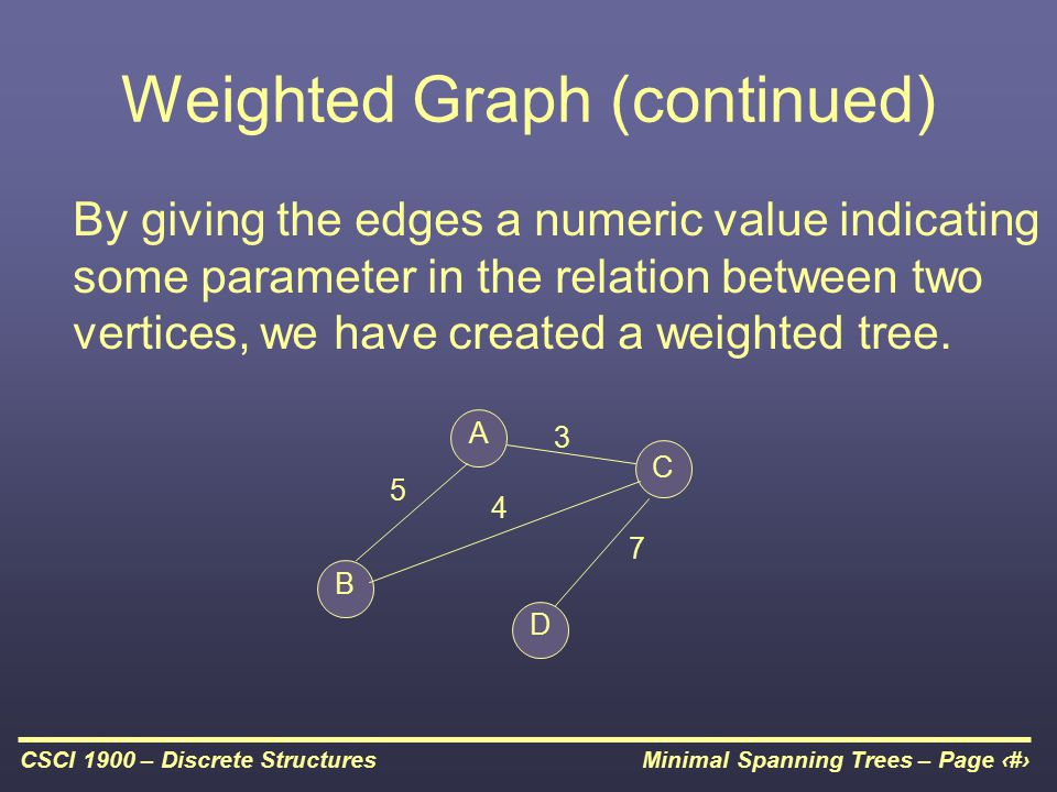 Minimal Spanning Trees – Page 7CSCI 1900 – Discrete Structures Weighted Graph (continued) By giving the edges a numeric value indicating some parameter in the relation between two vertices, we have created a weighted tree.