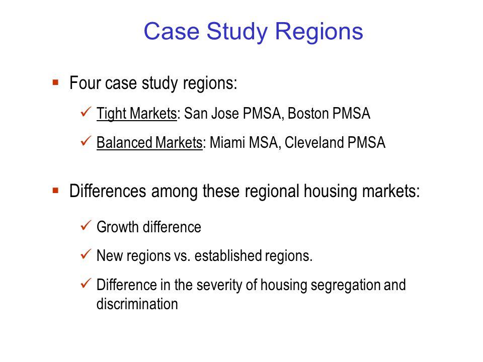 Case Study Regions  Four case study regions: Tight Markets: San Jose PMSA, Boston PMSA Balanced Markets: Miami MSA, Cleveland PMSA  Differences among these regional housing markets: Growth difference New regions vs.