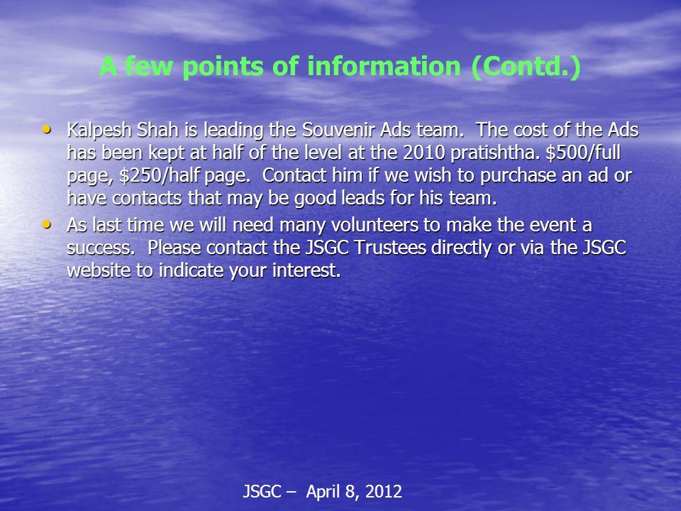 JSGC – April 8, 2012 A few points of information (Contd.) Kalpesh Shah is leading the Souvenir Ads team.