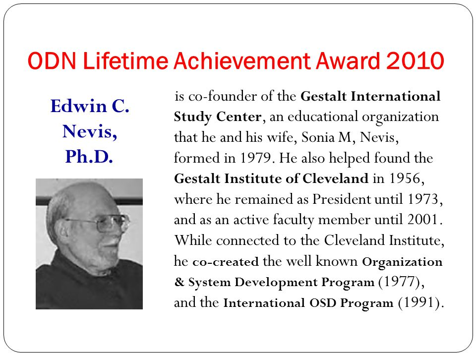 ODN Lifetime Achievement Award 2011 Brenda B. Jones, MS is an organizational consultant based in Columbia, MD, with over 20 years' experience. She is