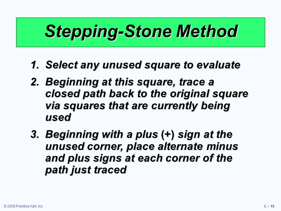 © 2006 Prentice Hall, Inc.C – 18 Stepping-Stone Method 1.Select any unused square to evaluate 2.Beginning at this square, trace a closed path back to the original square via squares that are currently being used 3.Beginning with a plus (+) sign at the unused corner, place alternate minus and plus signs at each corner of the path just traced