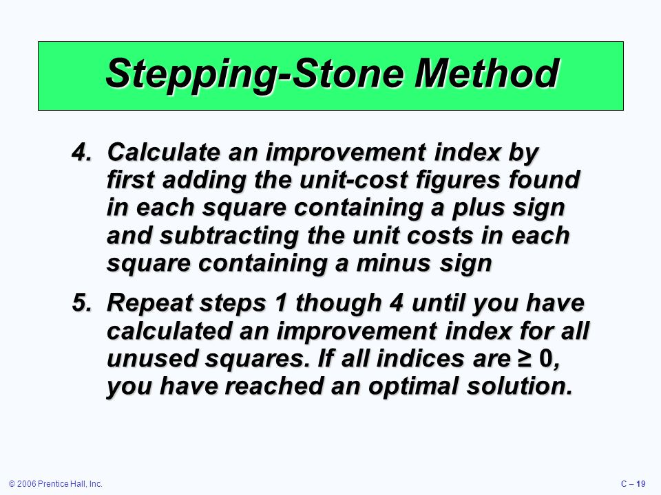 © 2006 Prentice Hall, Inc.C – 19 Stepping-Stone Method 4.Calculate an improvement index by first adding the unit-cost figures found in each square containing a plus sign and subtracting the unit costs in each square containing a minus sign 5.Repeat steps 1 though 4 until you have calculated an improvement index for all unused squares.