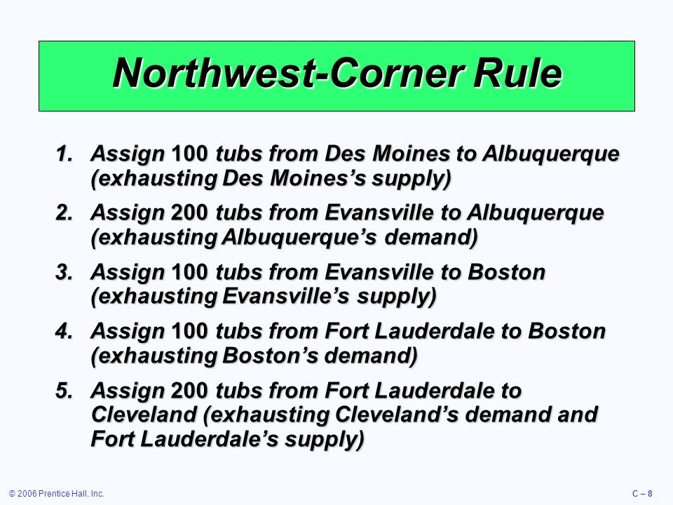 © 2006 Prentice Hall, Inc.C – 8 Northwest-Corner Rule 1.Assign 100 tubs from Des Moines to Albuquerque (exhausting Des Moines's supply) 2.Assign 200 tubs from Evansville to Albuquerque (exhausting Albuquerque's demand) 3.Assign 100 tubs from Evansville to Boston (exhausting Evansville's supply) 4.Assign 100 tubs from Fort Lauderdale to Boston (exhausting Boston's demand) 5.Assign 200 tubs from Fort Lauderdale to Cleveland (exhausting Cleveland's demand and Fort Lauderdale's supply)