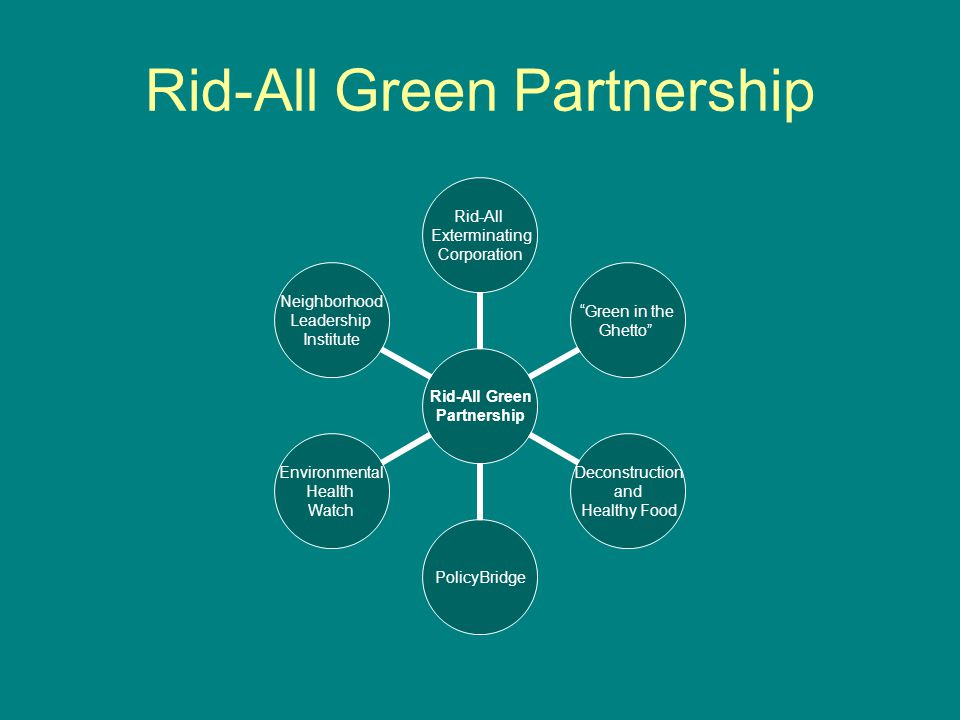 Rid-All Green Partnership Rid-All Green Partnership Rid-All Exterminating Corporation Green in the Ghetto Deconstruction and Healthy Food PolicyBridge Environmental Health Watch Neighborhood Leadership Institute