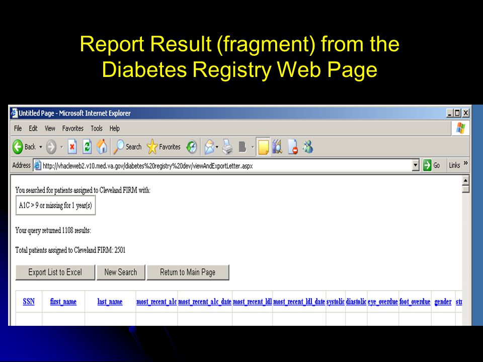 Report Result (fragment) from the Diabetes Registry Web Page