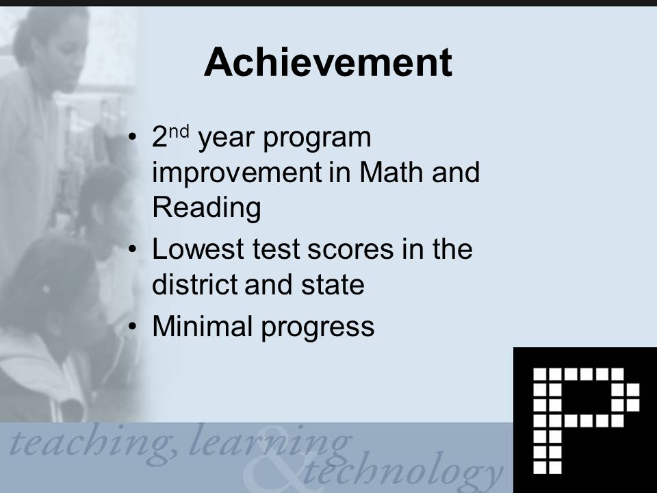 Achievement 2 nd year program improvement in Math and Reading Lowest test scores in the district and state Minimal progress