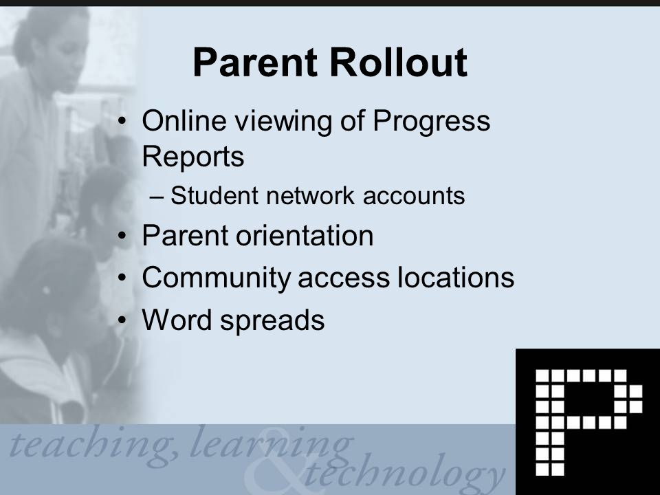 Parent Rollout Online viewing of Progress Reports –Student network accounts Parent orientation Community access locations Word spreads