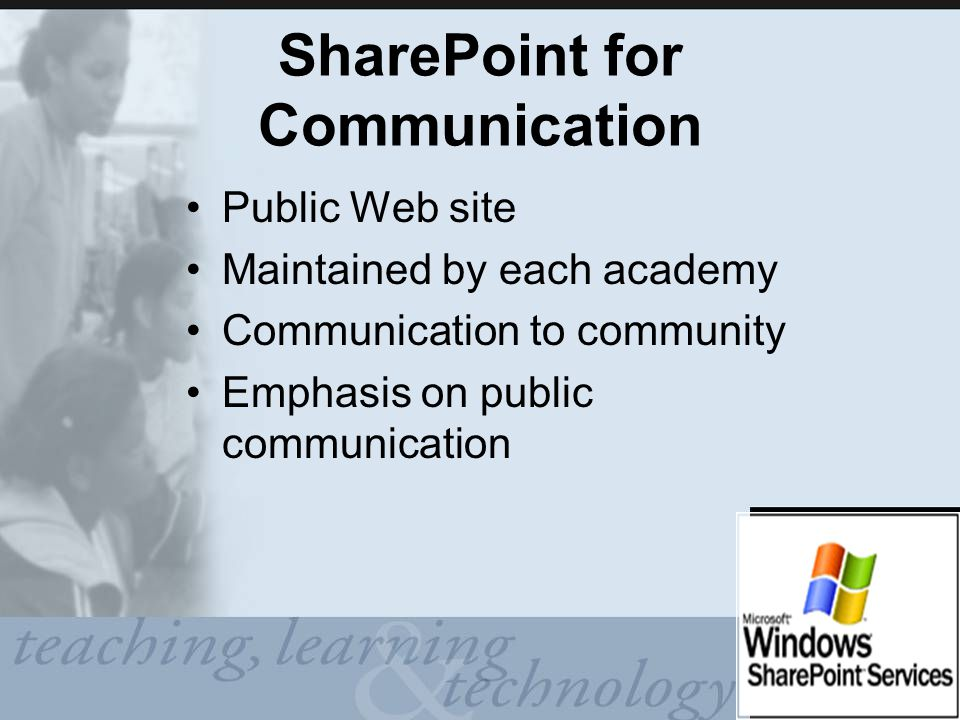 SharePoint for Communication Public Web site Maintained by each academy Communication to community Emphasis on public communication