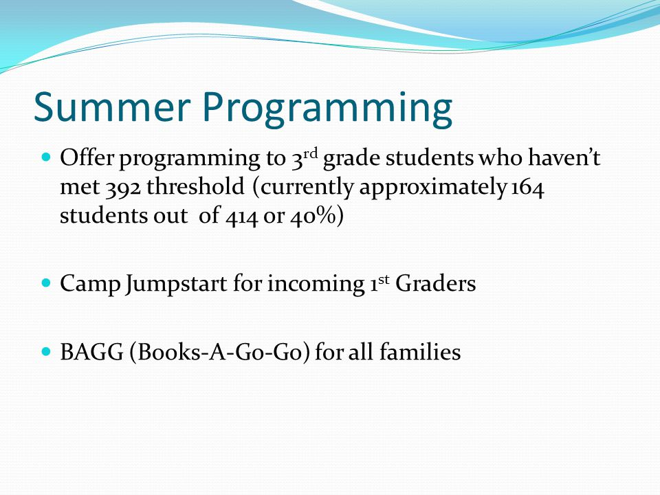 Summer Programming Offer programming to 3 rd grade students who haven't met 392 threshold (currently approximately 164 students out of 414 or 40%) Camp Jumpstart for incoming 1 st Graders BAGG (Books-A-Go-Go) for all families